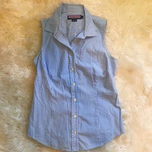 Vineyard Vines Blue and White Striped Button Up